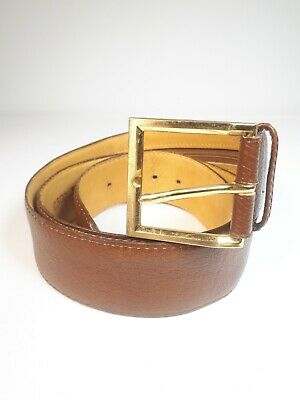 CUSTOM LEATHER Made in Canada Brown Leather Mens Stash pocket Belt 36 Size.