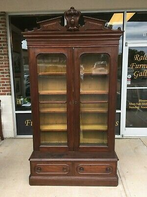 Antique Victorian Solid Walnut Bookcase at Raleigh Furniture Gallery