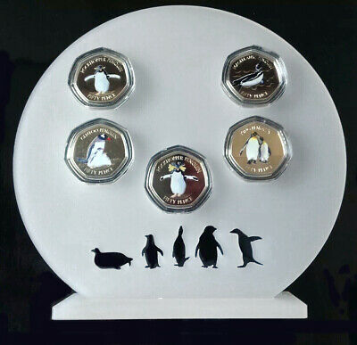 Falklands Penguins 50p Perspex Display Stand For Full Set,Coins Not Included.