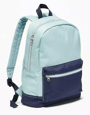 NWT Old Navy Two Tone Blue Canvas Backpack School Book bag Adjustable Strap NEW
