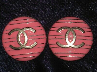 CHANEL pink BUTTONS lot of 2 in 18 mm-3/4 inch metal with SILVER cc logo, two