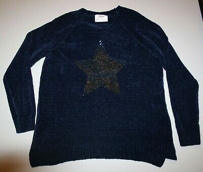 New Justice Girls Top 14 16 Plus Year Soft Navy Blue Sweater Flip Sequin Star