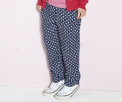 Girls lightweight blue print casual trousers in age 8-9 and 10-11 years