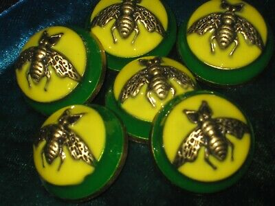 100% Gucci 🌺 buttons green yellow bees 23 mm dome style lot 6 ❤️