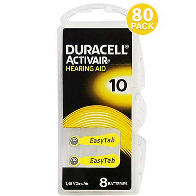 Duracell Size 10 Hearing Aid Battery, 10 x 8 Packs Closeout Sale (80 Batteries)