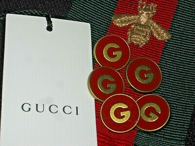100% Gucci 🌺 buttons  blood red  brass G 20 mm  lot 5 ❤️ ADORABLE