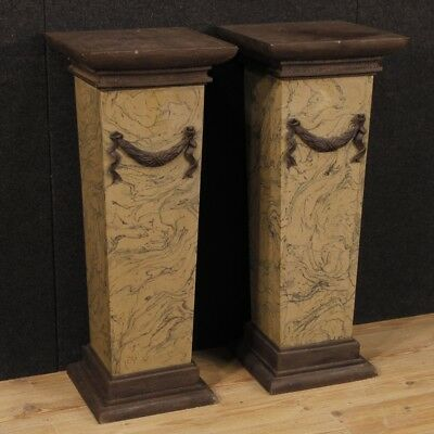 Pair of Columns Coffee Tables Italian Lacquered Painted Chalk Resin Antique
