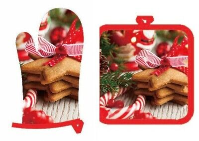 Christmas Oven Glove and Potholders Christmas Santa Claus Cookie