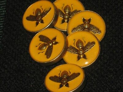 100% Gucci 🌺 6 buttons  MUSTARD COLOR  brass BEE 16 mm  lot 6 ❤️ ADORABLE