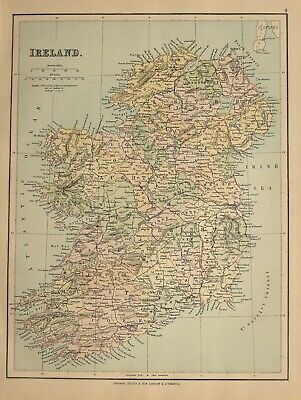 c1910 MAP IRELAND MAYO CLARE GALWAY CONNAUGHT TYRONE DOWN LONDONDERRY WICKLOW