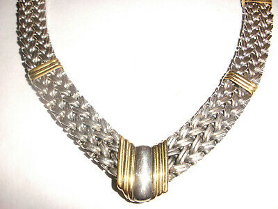 Beautiful vintage statement collar sterling silver 18k gold necklace heavy 90 gr
