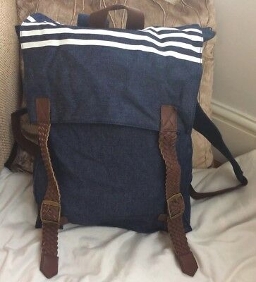 Brand New With Tags Dark Blue Denim & Brown Faux Leather Unisex Backpack
