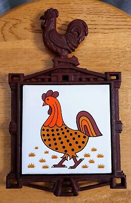 Vintage Rooster Footed Cast Iron Trivet Hot Plate Tile Wall Hanging Decor Japan
