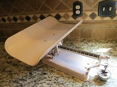 Vtg Pink Detecto Baby Girl Doctor Scale Beam Type Jacobs Bros Co BROOKLYN NY USA