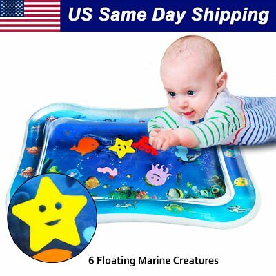Baby Tummy Time Playmat Inflatable Infants Toddlers PVC Water Mat Stimulation