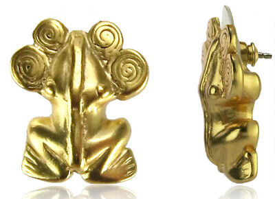 ACROSS THE PUDDLE 24k GP Pre-Columbian Frog with Spirals Diadem Drop Earrings
