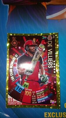 TOPPS VIVO IPL CRICKET ATTAX 2017 #182 AB De Villiers 100 CLUB ULTIMATE XI GOLD