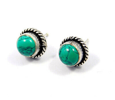 Turquoise .925 Silver Plated Handmade Stud Earring Jewelry JC8092