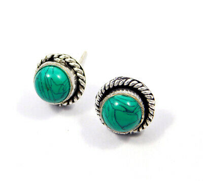 Turquoise .925 Silver Plated Handmade Stud Earring Jewelry JC8130