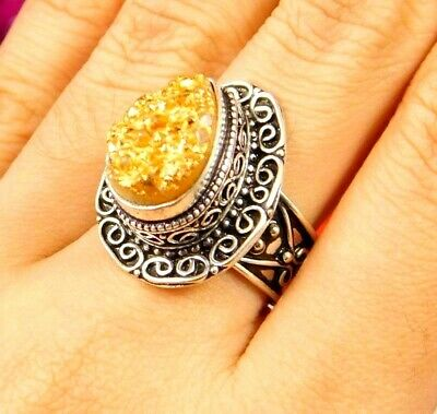 Lovely Golden Druzy Silver Hand Carving Jewelry Ring Size 7.75 JC3060