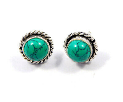Turquoise .925 Silver Plated Handmade Stud Earring Jewelry JC8146
