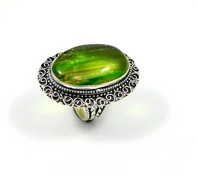 Charming Dichoric Glass Silver Carving Jewelry Ring Size 8.50 JT2373