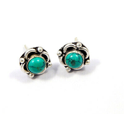 Turquoise .925 Silver Plated Handmade Stud Earring Jewelry JC8174