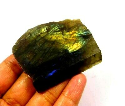 100% Natural Flashy Labradorite Slice Mineral Specimen 175 CT 53x40mm NG10538