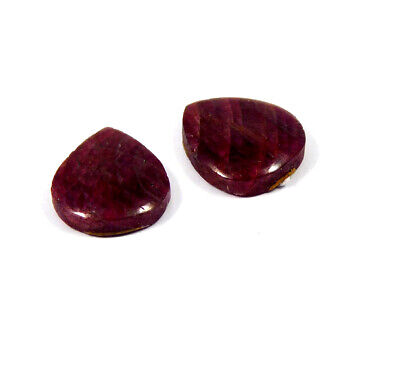 21 Cts. 100% Natural Pair Of Pear Ruby Loose Cabochon Gemstone RRM19174