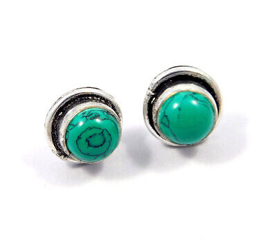 Turquoise .925 Silver Plated Handmade Stud Earring Jewelry JC8086
