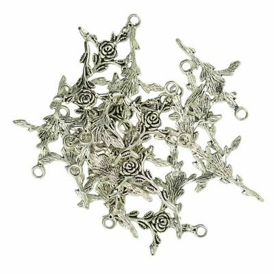 Tibetan Silver Rose Flower Cross Pendants Gothic Punk Charms Rose Branch Pendant