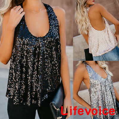 Womens Summer Sexy Sequin Strappy Vest Tops Cami Ladies Blouse Tank Top Clubwear