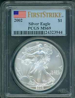 2002  American Silver Eagle ASE S$1 PCGS MS69 FIRST STRIKE FS