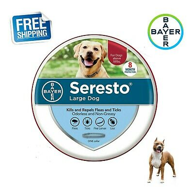 Seresto Bayer Flea & Tick Collar for over 18lbs Large Dogs Free & Fast Shipping