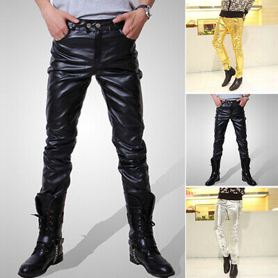 2019 Men Faux Leather Pants Motorcycle Tight Pencil Pants Trousers Mens Sexy