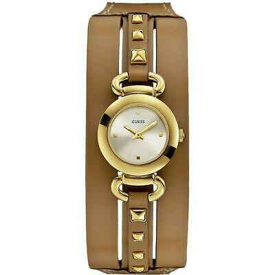 GUESS PUNKY Womens Watch W0160L4 Bracelet Leather Brown Steel Gold White