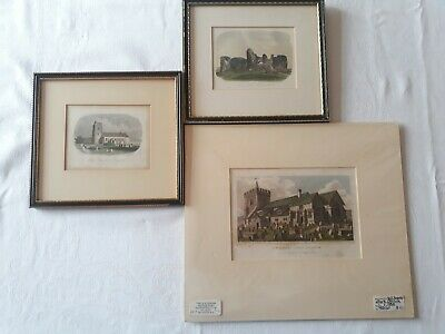 3 Antique Engravings/Prints Hand Coloured Of Brighton + West Sussex.Offers Open!