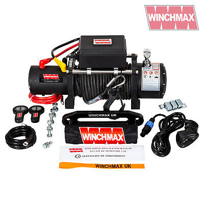 ELECTRIC WINCH 12V 4x4 13500 lb MILITARY SPEC MADE BY WINCHMAX SYNTHETIC ROPE