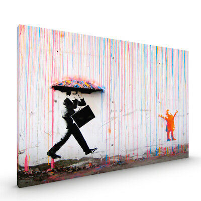 Coloured Rain Girl Banksy CANVAS Framed Glossy with Metal Hanger Various Sizes