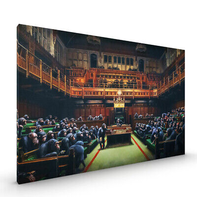 Monkey Parliament Banksy CANVAS Framed Glossy with Metal Hanger Various Sizes