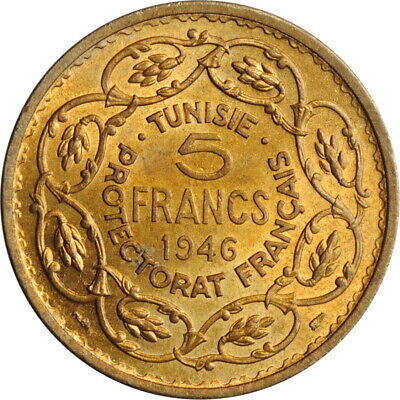 "Tunisia 5 francs 1946, BU, ""French protectorate (1890 - 1957)"""