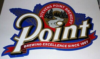 """STEVENS POINT Brewery BEER WISCONSIN 23""""x15"""" METAL TIN EMBOSSED SIGN Since 1857"""