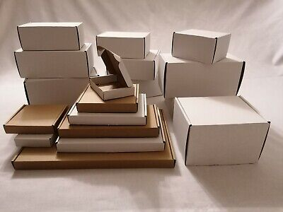 White Postal Cardboard Boxes Small Mailing Shipping Cartons Multi Listing