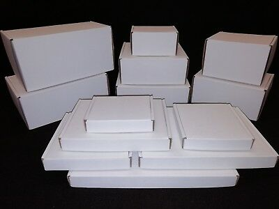White Postal Cardboard Boxes Small Mailing Shipping Cartons Multi Listing PIP