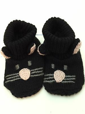 LAST CALL Baby Gap Size 3 -6 Months Toddler Black Cat Booties Boys Girls Shoes