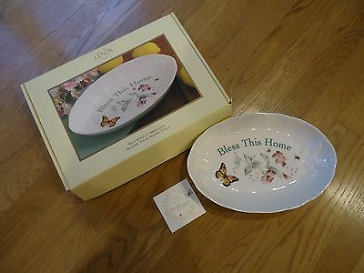 """Lenox Butterfly Meadow """"Bless This House"""" Serving Tray/Dish"""