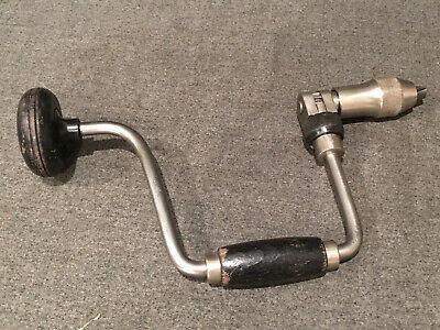"""Vintage  10"""" Sweep  Ratcheting Hand Auger Bit Brace Drill - Made in Japan"""