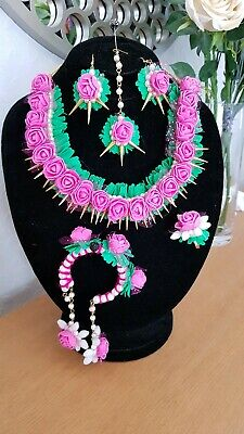 Hand made Flower jewellery Pink and green for Mehndi Bridal Wedding