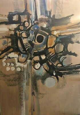 Painting By John Thomson Abstract artist Dated 1966 Vintage titled jumpng off