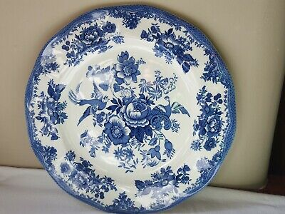 Enoch Wedgewood Asiatic Pheasants 11in Dinner Plate Blue and white